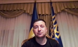 Zelenskiy attends an online video-conference with the governmental officials from a hospital where he was hospitalised in Kyiv.