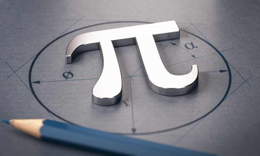 Stock 3D illustration of pi letter over a circle drawing