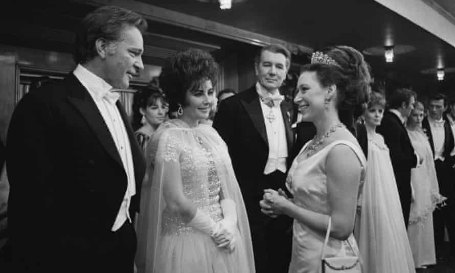 Princess Margaret with Richard Burton and Elizabeth Taylor at the Royal Film Performance of The Taming Of The Shrew at the Odeon Theatre, Leicester Square, 1967.