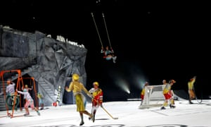 Cirque du Soleil artists perform on stage during the Latvian premiere of the show 'Crystal' in Riga, Latvia, on 15 January 2020.
