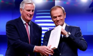 EU chief Brexit negotiator Barnier meets European Council President Tusk to hand over the Brexit draft text in Brussels