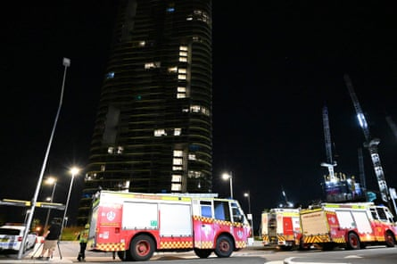 Fire trucks in front of Opal Tower during an inspection by firefighters and engineers early on Christmas Day.