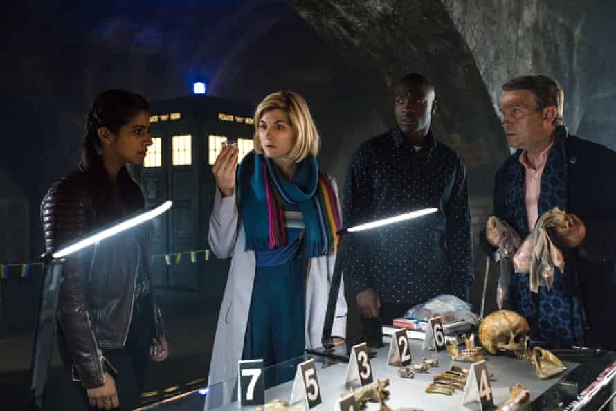 Mandip Gill as Yaz, Jodie Whittaker as the Doctor, Tosin Cole as Ryan and Bradley Walsh as Graham in Doctor Who