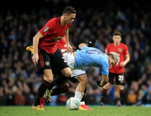 Matic fouls Aguero.
