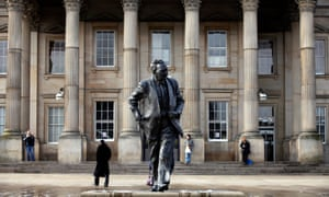The statue of former prime minister Harold Wilson outside the railway station in Huddersfield