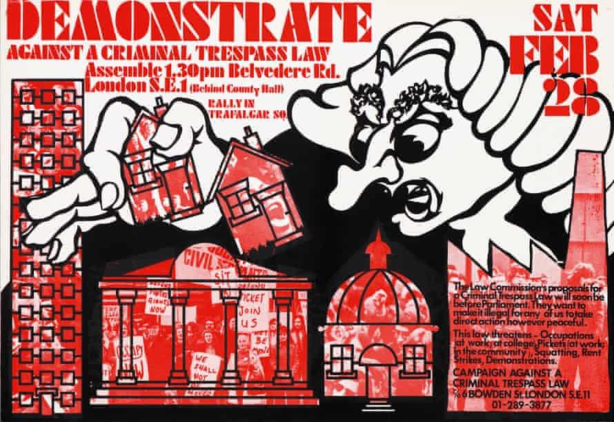 Demonstrate Against a Criminal Trespass Law poster, 1976, John Phillips