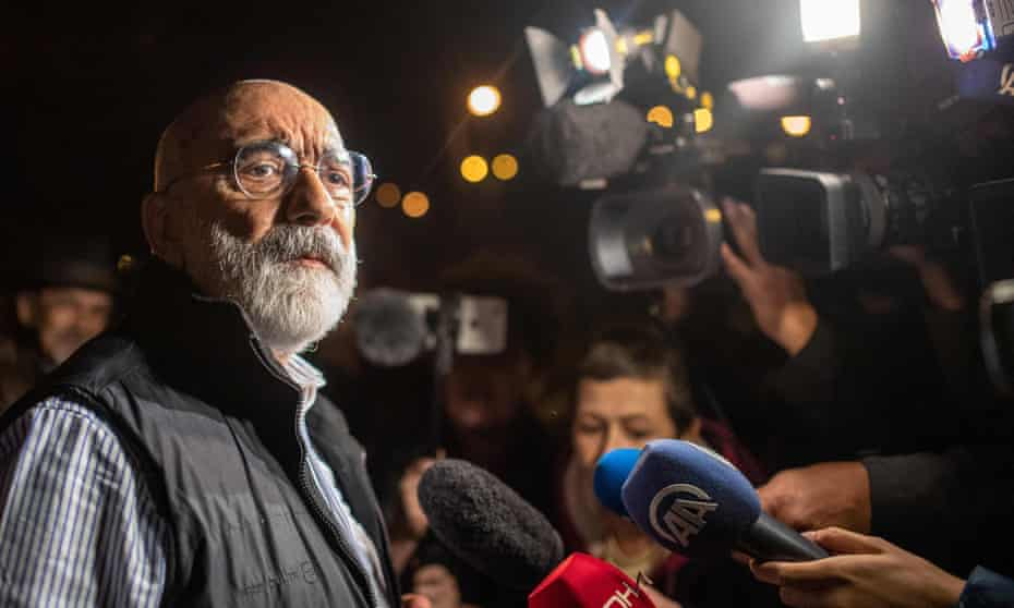 Turkish journalist and writer Ahmet Altan speaks to journalists after being released on 4 November.
