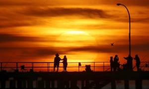 Sunrise over Altona pier in Melbourne on Thursday