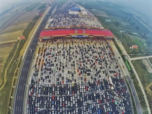 A new toll station on a motorway in Beijing was blamed for causing a 50-lane gridlock