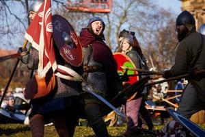 Re-enactors in the midst of a fierce skirmish