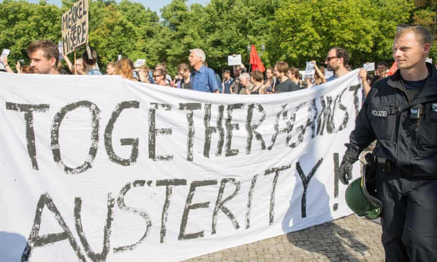 A protest against the Greek bailout conditions in Berlin.