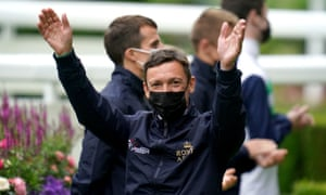 Frankie Dettori is introduced to the crowd at Royal Ascot.