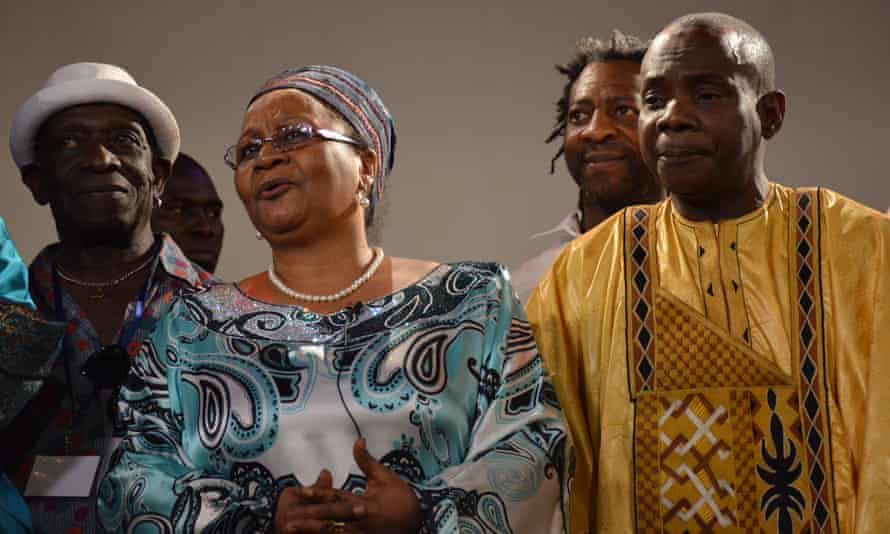 Official approval... Mali's first lady Keita Aminata Maiga with Tony Allen (left) and Toumani Diabaté (right).