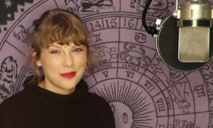 Taylor Swift pictured in the studio re-recording music from her first six albums.