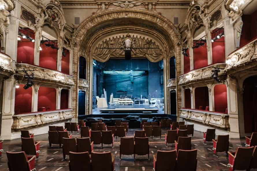Select audience … the Berliner Ensemble auditorium with stripped-out seats.