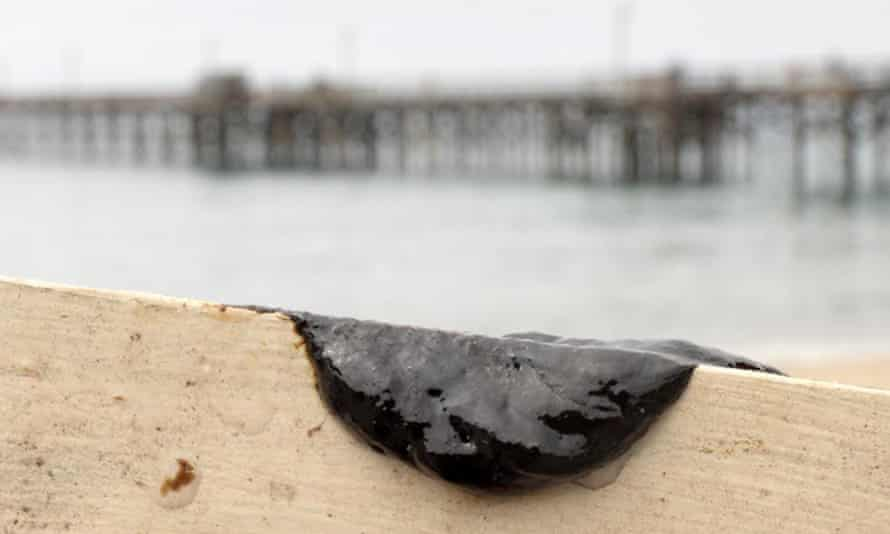 A sample of oil scraped off the side of a kayak after two kayakers encountered a large oil sheen and called the Santa Barbara County fire department to investigate.