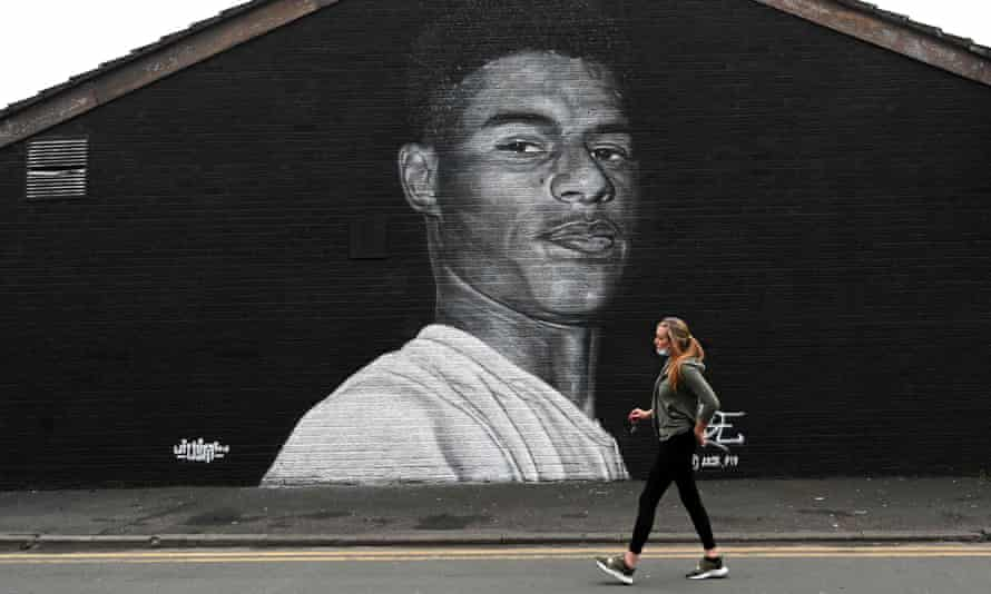 A mural of Marcus Rashford by graffiti artist Akse P19 in Withington, Manchester.
