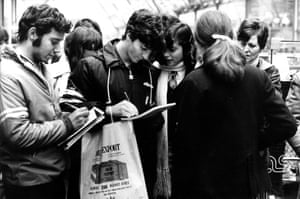 Paolo Rossi signing autographs for fans in Buenos Aires during the 1978 World Cup.