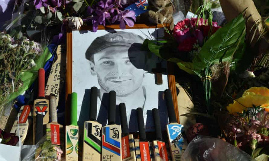 Bats and caps left outside the stadium in a tribute to the Phillip Hughes