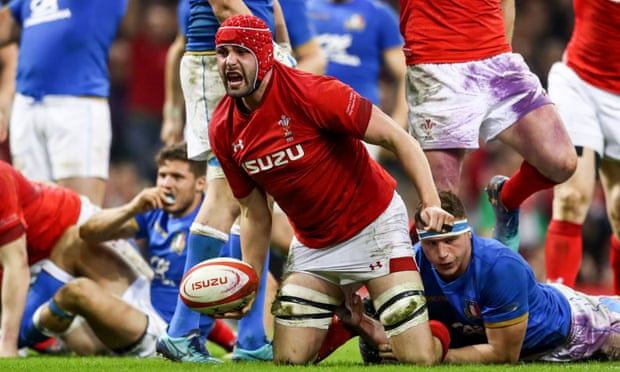 Cory Hill celebrates his try against France during a tournament where he made himself a fixture in the Wales pack.