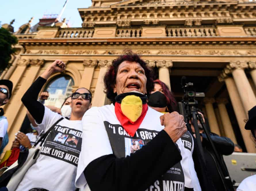 Leetona Dungay, the mother of David Dungay Jr, who died in custody, at the Sydney protest