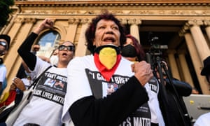 Leetona Dungay at the Sydney protest. Her son David Dungay Jr died in Sydney's Long Bay jail after being restrained by prison officers who stormed his cell after he refused to stop eating a packet of biscuits.
