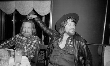 Nelson with Waylon Jennings, celebrating their new new album, Waylon and Willie, 1978