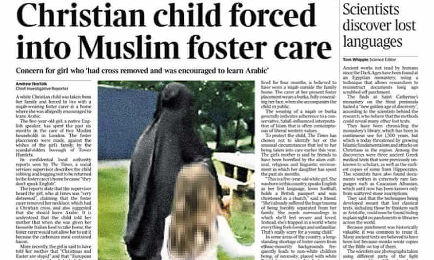 Front page story in the Times, 28 August 2017.