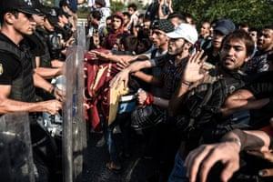 Istanbul, Turkey: Riot police form a barricade