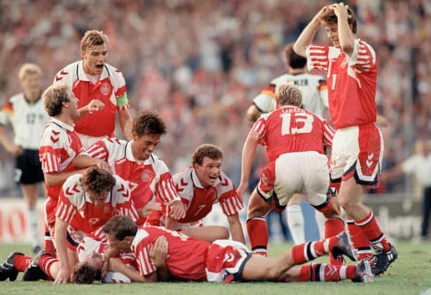 Kim Vilfort is mobbed by team-mates after scoring the second and winning goal in the 1992 final between Denmark and Germany