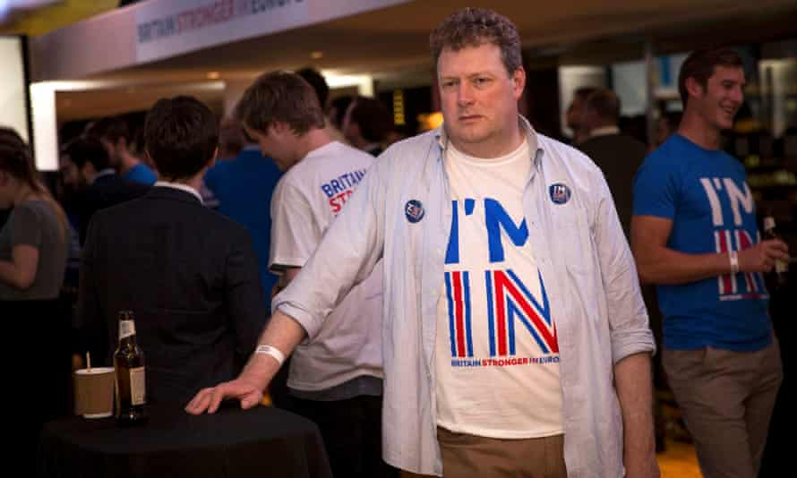 A supporter of the Stronger In campaign looks glum at the Royal Festival Hall in London