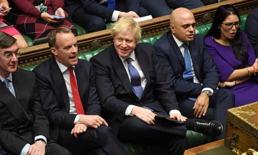 Boris Johnson in the House of Commons with (from left) Jacob Rees-Mogg, Dominic Raab, Sajid Javid and Priti Patel.