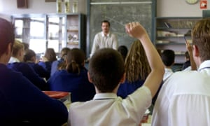 Teacher Dale Murchie with his year 9 Maths class at Ashwood Secondary College. 17 June 2002.