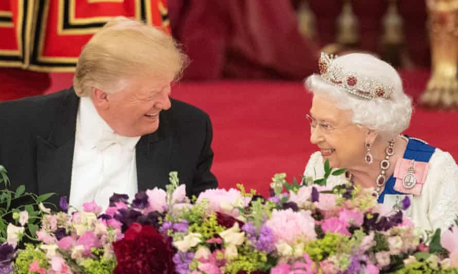 Donald Trump laughs with the Queen at a state banquet held at Buckingham palace.