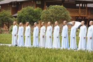 China's first monks' chorus, from the Tiantai Temple conservatory of Buddhist music, performs at the 2017 Huanglong Music Festival and International Chorus Week, Zhangjiajie, China