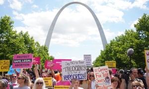 Protesters converged on St Louis Thursday, in the shadow of the city's famous arch, to demonstrate against the measure.