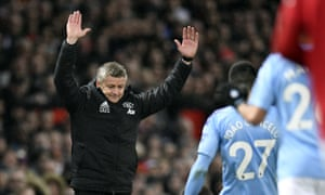 Solskjær during Sunday's win over Manchester City, United's third derby victory of the season