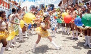 Frevo dancer at Olinda carnival in Brazil