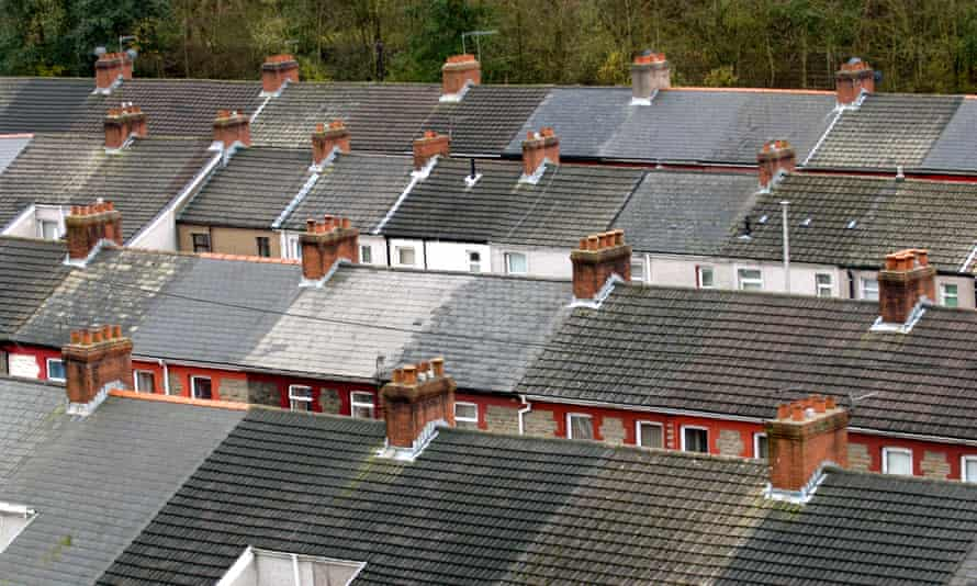 View of over the rooftops of terraced houses in the former coal mining village of Llanhilleth in the South Wales Valleys