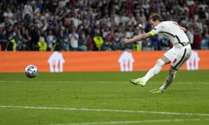 Harry Kane of England scores on penalty shootout.