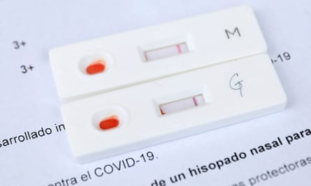 Negative antibody tests are seen at a SOMOS Community Care Covid-19 antibody walk-in testing in Brooklyn, New York City