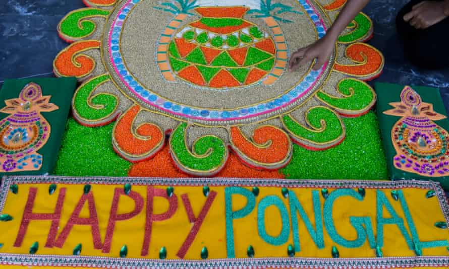 A floor decoration of the harvest festival at a temple in Colombo, Sri Lanka.