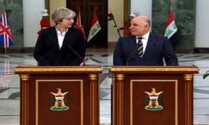 Iraqi prime minister Haider al-Abadi delivering a press statement Theresa May
