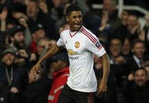 United''s Marcus Rashford celebrates after scoring.