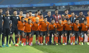 India's under-17 football team pose for a photograph before their match against the US.
