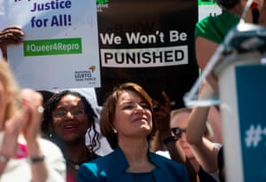 Klobuchar speaks outside the supreme court as pro-choice activist rally in Washington in May.