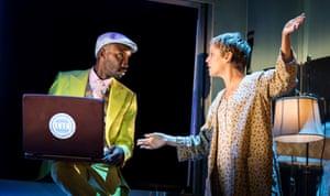 Nathan Stewart-Jarrett (Mr Lies) and Denise Gough (Harper Pitt) in Angels in America - Millennium Approaches.
