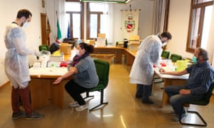 Citizens of Vo Euganeo, Veneto, northern Italy, undergo Covid-19 testing during the second wave of Covid-19.