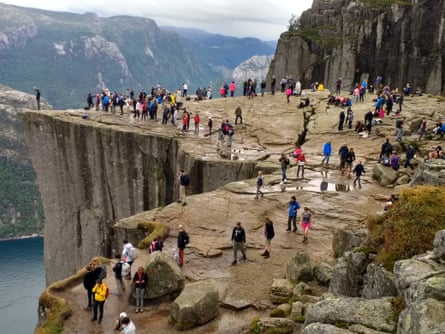 Leisure time: the top of the stunning Pulpit Rock, Norway, after a long walk.