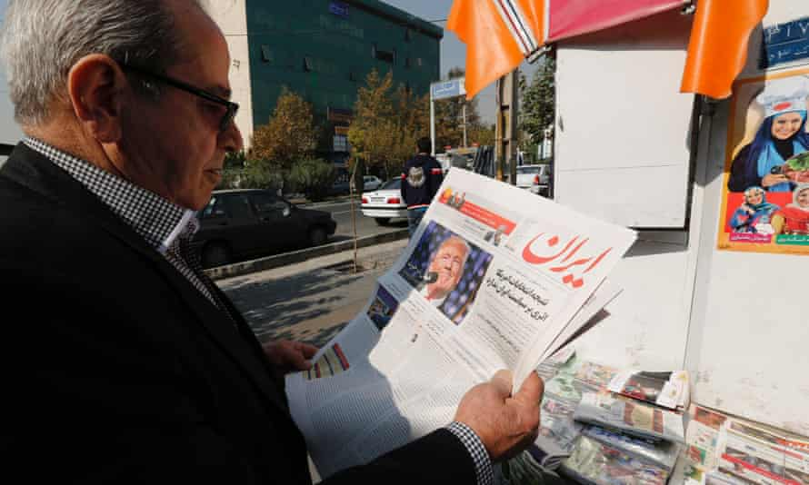 A local newspaper in Tehran, Iran, displaying a portrait of Donald Trump a day after his election as the new US president.